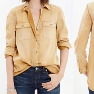 Madewell distressed button front blouse, small